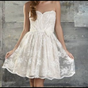 Bari Jay Strapless Lace Cocktail Party Dress